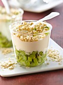 Fromage blanc,diced kiwi and oat flake Verrine