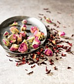 Dried rose petals and rosebuds