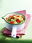 Pasta with cherry tomatoes , flageolet beans and peas