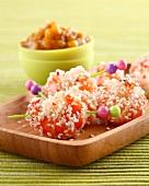 Shrimp and sesame seed brochettes
