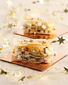 Roquefort and pear mille-feuilles
