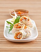 Pork and peanut spring rolls