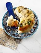 Thadig (Traditionelles Reisgericht mit Kruste, Iran)