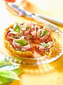 Tomato,raw ham and basil savoury tart
