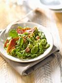 Broad bean, watercress and raw ham salad