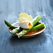 Soft-boiled egg,green asparagus and parmesan crisps