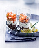 Two trout tartare with red quinoa