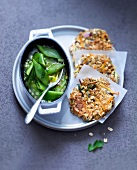 Spicy oatmeal and vegetable cakes with saffron runner bean casserole