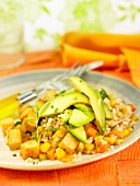 Rice,avocado,sweet corn,tofu and carrot salad