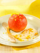 Poached peach with cashew sauce