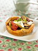 vegetable and cheese tartlet