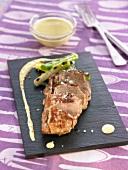 Pork fillet with sauteed leeks