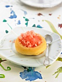 Small rum Savarin with grapefruit granita