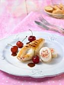 Squid stuffed with crab, cherry sauce