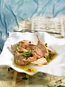 Partridge with herbs and garlic