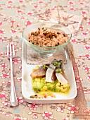 Avocado, mackerel salad with spicy rice