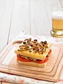 Mushroom and tomato sandwich