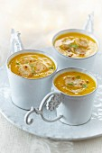 Cream of pumpkin soup with scallops
