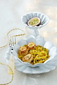Stewed chicory with scallops and passion fruit