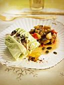 Stuffed cabbage leaf and ratatouille