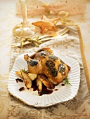 Chicken roasted with sliced truffles under the skin and served with apples