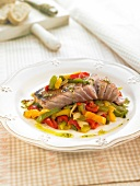 Tuna with three-colored bell peppers