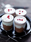 Three-chocolate, fromage blanc and pomegranate Verrines