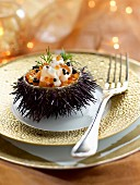 Urchin stuffed with scallops and salmon roe