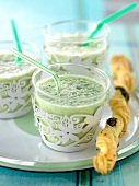 Cucumber gazpacho, poppyseed twist bread sticks