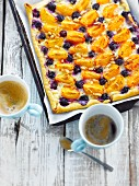 Apricot-bilberry sweet pizza