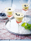 Zabaglione with bilberries and grapefruit