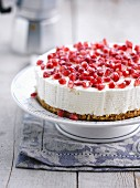 Chilled pomegranate cheesecake