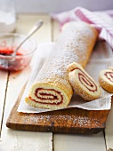 Strawberry jam rolled sponge cake