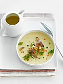 Cream of vegetable soup, oxtail broth