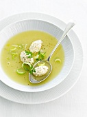 Leek soup with chicken quenelles