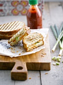 brie and leek toasted sandwich with Sambal sauce