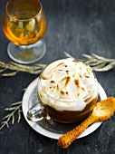 Irish coffee with meringue topping