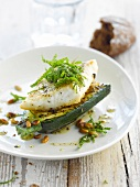 Haddock fillet with grilled zucchinis