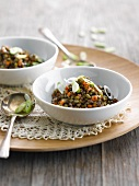 Lentil salad with carrots and onions