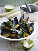 Thai-style lime,cilantro and citronella mussels