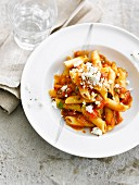 Penne all'arrabbiata with feta