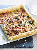 Diced bacon,leek and beet quiche