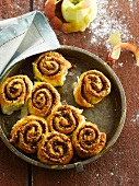 Cinnamon rolls with hazelnuts and apples