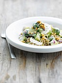 Wild rice with brussels sprouts and walnuts