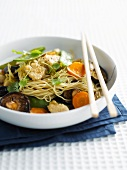 Noodles with vegetables and monkfish