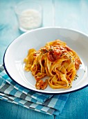Fettuccini in tomato sauce with pancetta