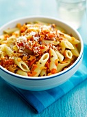 Penne with carrots and chili pepper