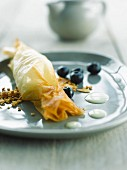 Apple and bilberry filo pastry candy