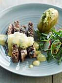 Grilled steak with bearnaise sauce