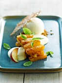Roasted pineapple with yoghurt ice cream